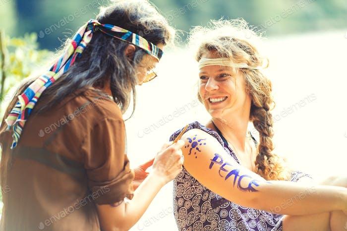 Pretty free hippie girls.