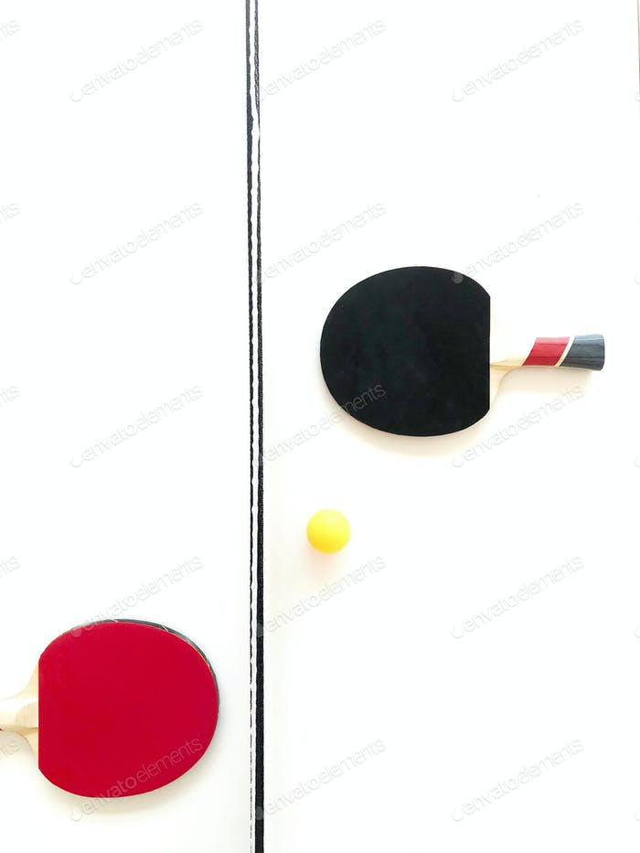 Ping pong table aerial view