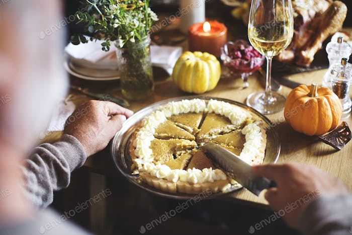 Hands Cutting Pumpkin Pie Thanksgiving Holiday Celebration Conce
