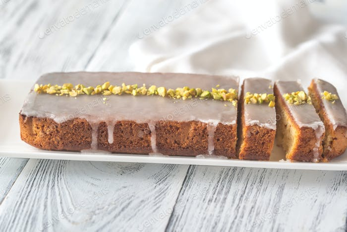 Lemon cake decorated with pistachios