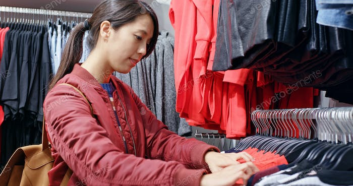 Woman shopping in boutique
