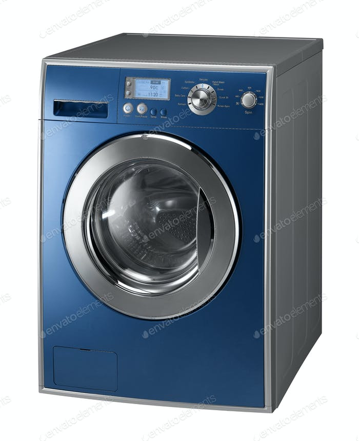 Blue Isolated washing machine on a white background