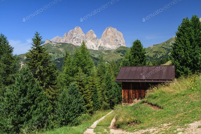 Dolomiti - Sassolungo mount from Fassa Valley, Italy