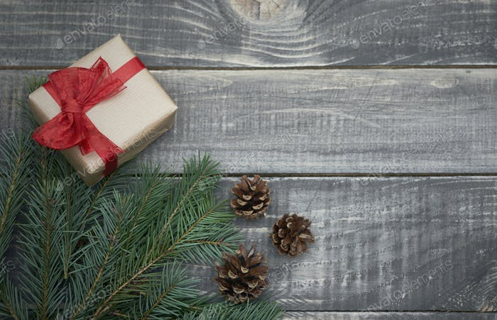 Christmas decoration on old wood
