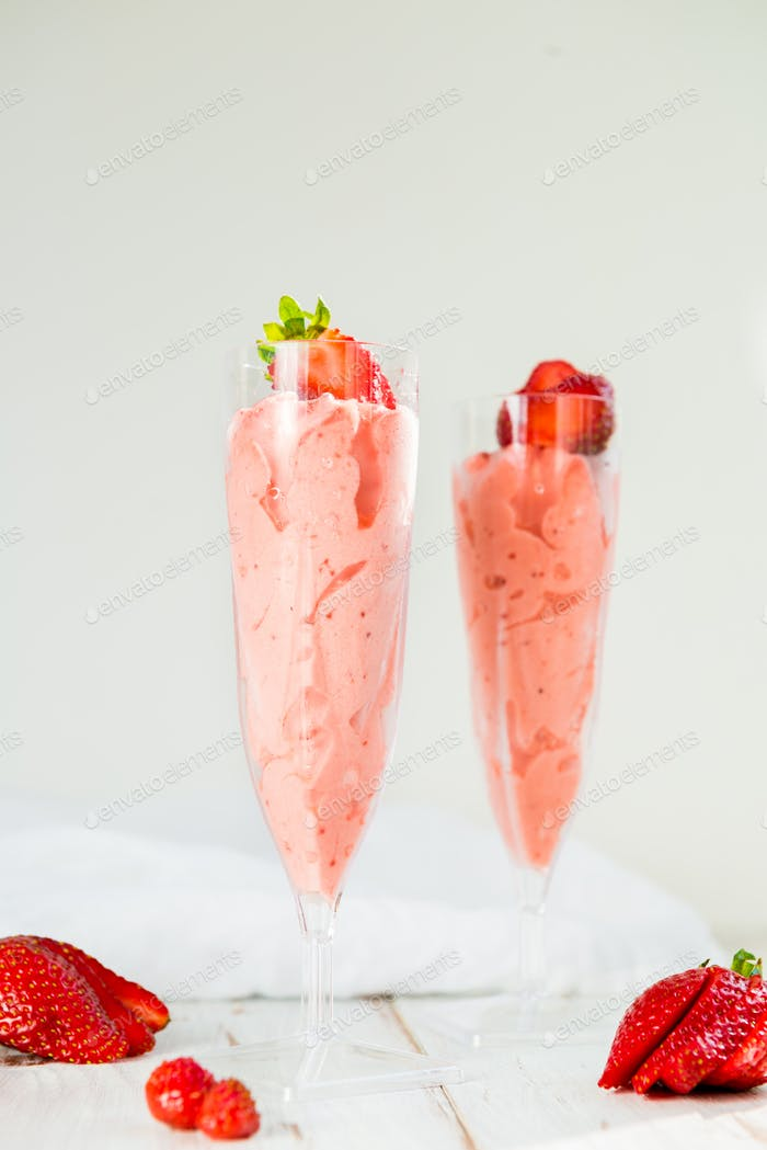 Homemade Strawberry Ice Cream served in Two Flutes