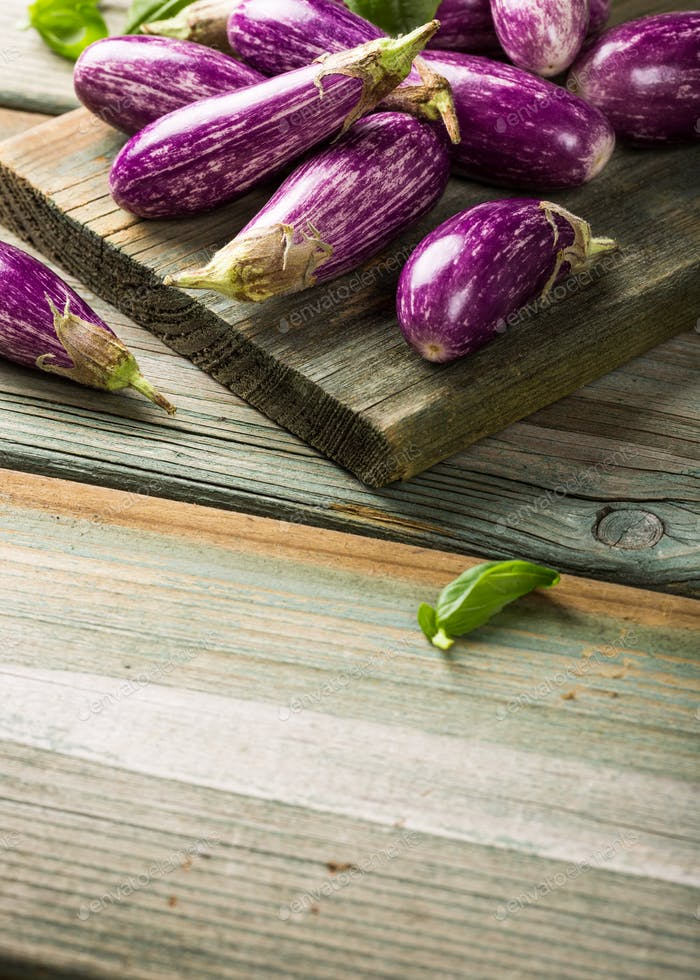 Heap of small eggplant or aubergine