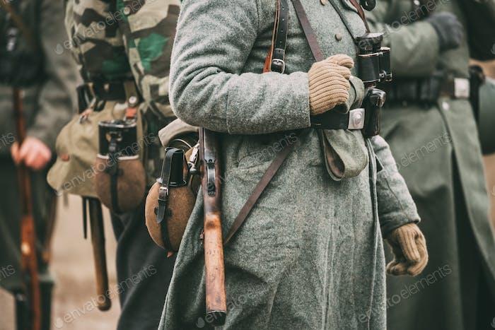 Deutsche Militärmunition eines deutschen Soldaten im Zweiten Weltkrieg.