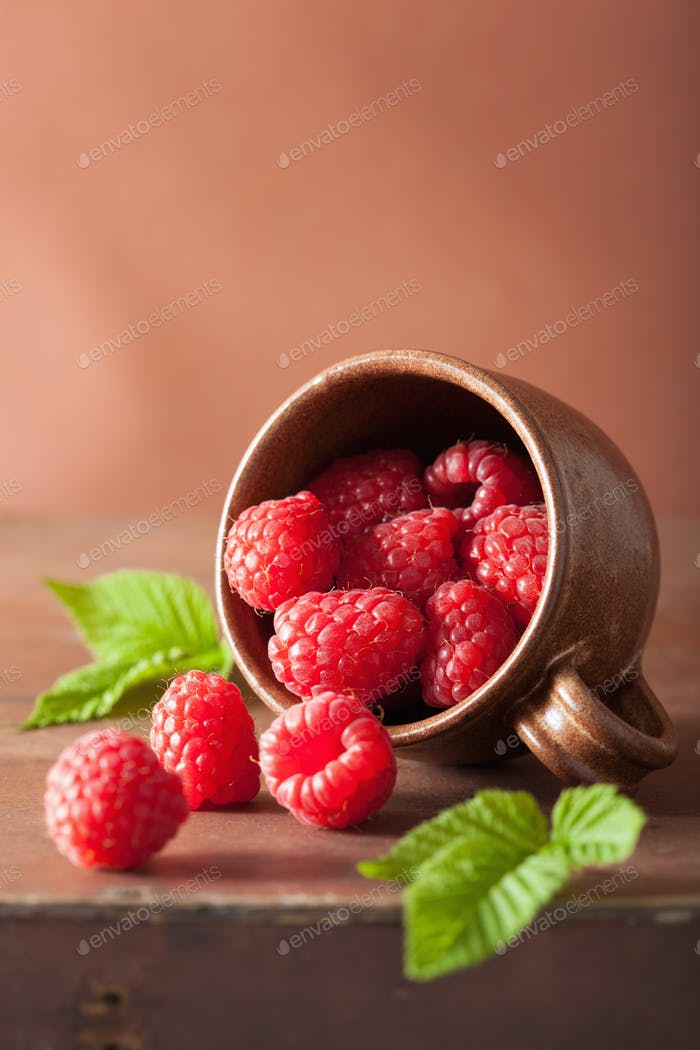 fresh raspberry in cup over wooden background