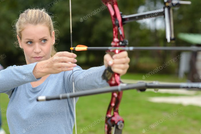 Woman doing archery