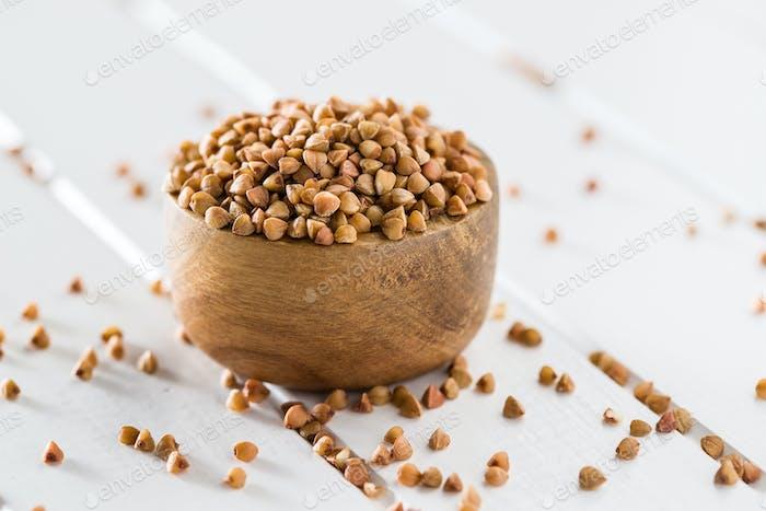 Dry healthy buckwheat.