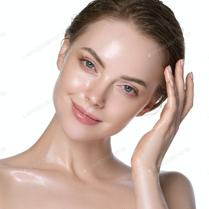 Adorable woman healthy hydration clean skin face. Naked neck and shoulders. Isolated on white.