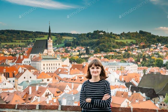 Cesky Krumlov, Czech Republic. Young Beautiful Pretty Happy Cauc