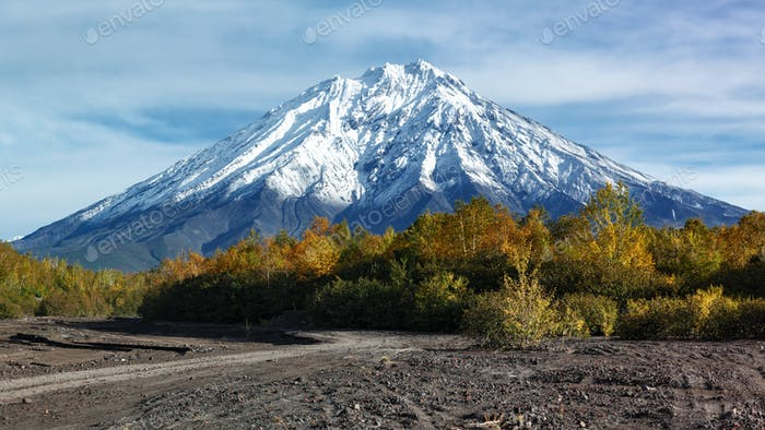 Autumn Panoramic Volcanic Landscape on Kamchatka Peninsula