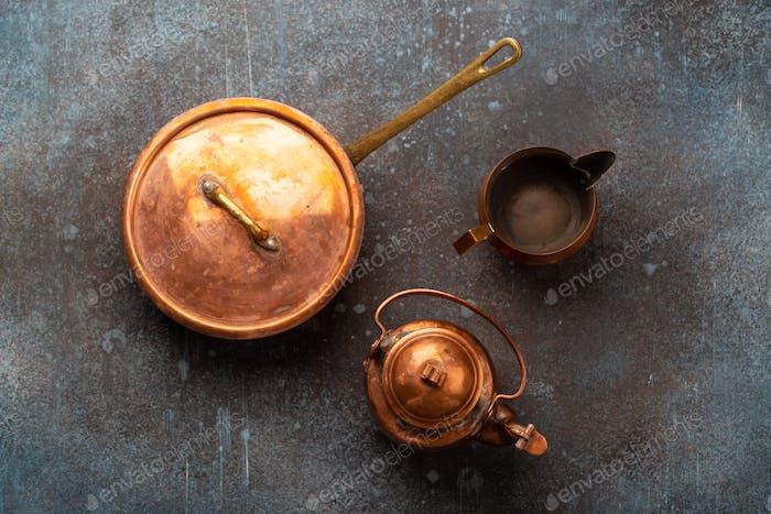 Old vintage copper empty tableware