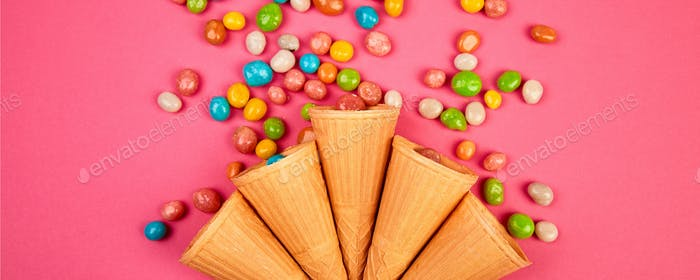 Banner Ice cream waffles cones with colorful candy