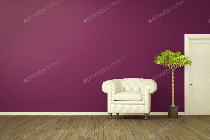 purple room with a white armchair