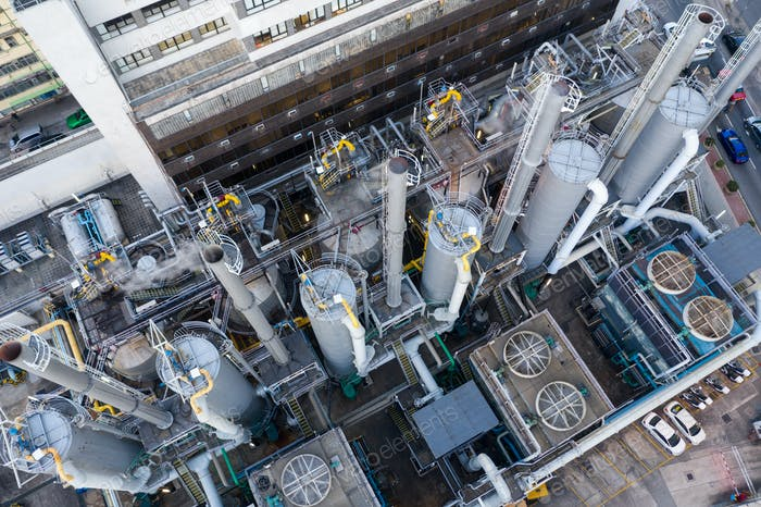 To Kwa Wan, Hong Kong, 29 January 2019: Gas factory in Hong Kong
