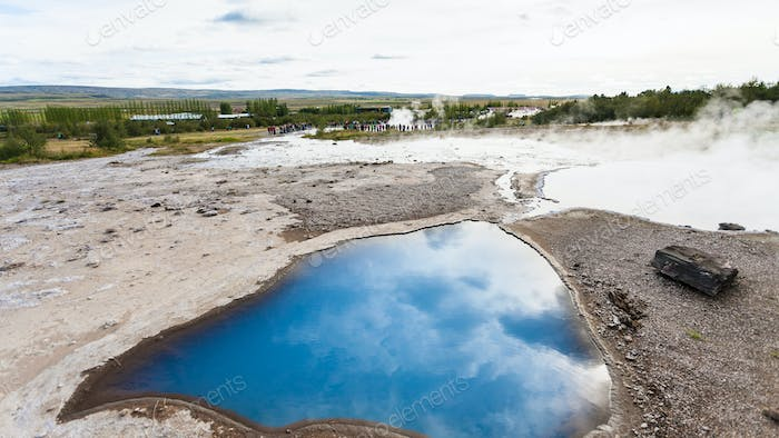 pool of The Geisyr in Haukadalur in Iceland