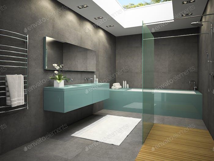 Interior of bathroom with ceiling window 3D rendering 5