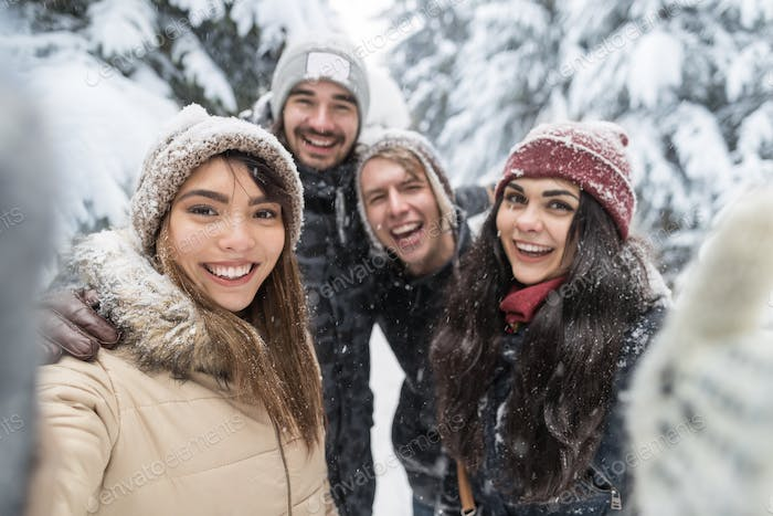 Friends Taking Selfie Photo Smile Snow Forest Young People Group Outdoor