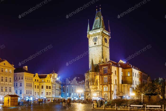 Prague, Czech Republic. Night View Of The Old Town Hall In The O
