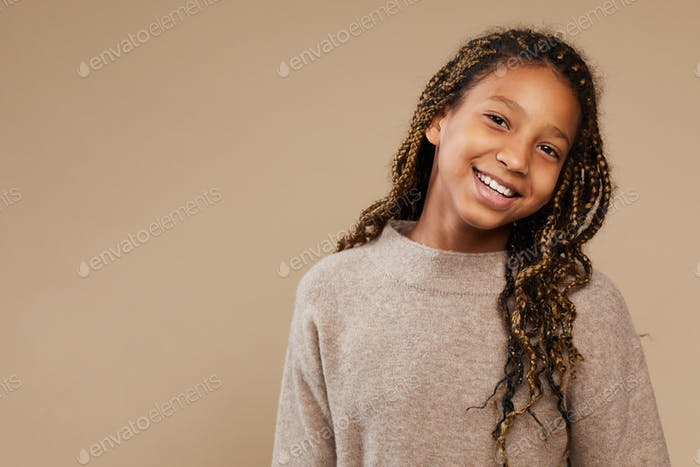 Carefree African-American Girl in Studio