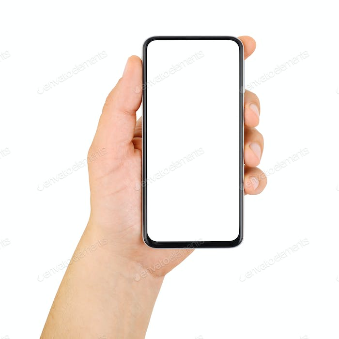 Hand holding cellphone with empty screen isolated on white