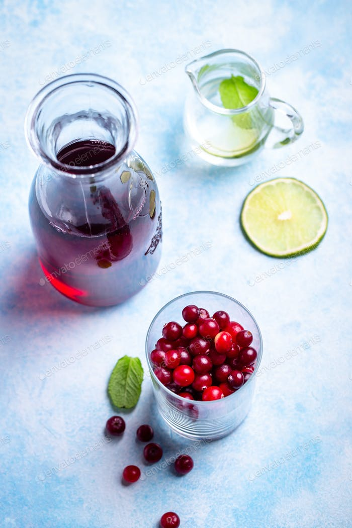 Glass of cranberry and juice