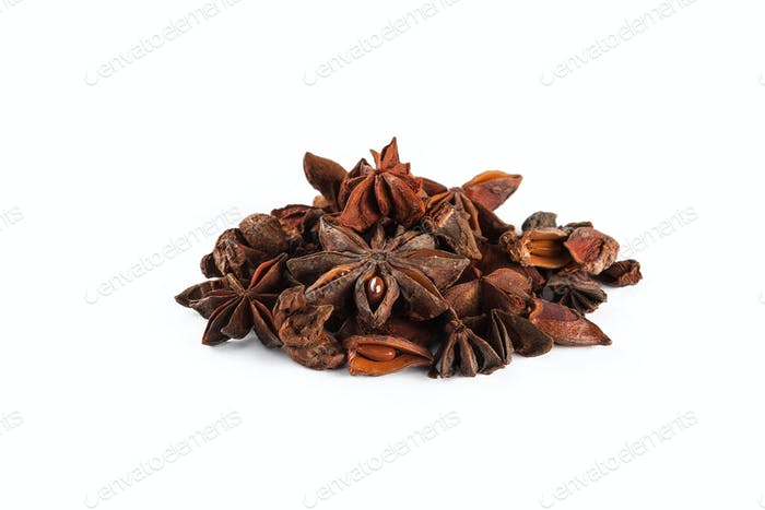 Star anise on white