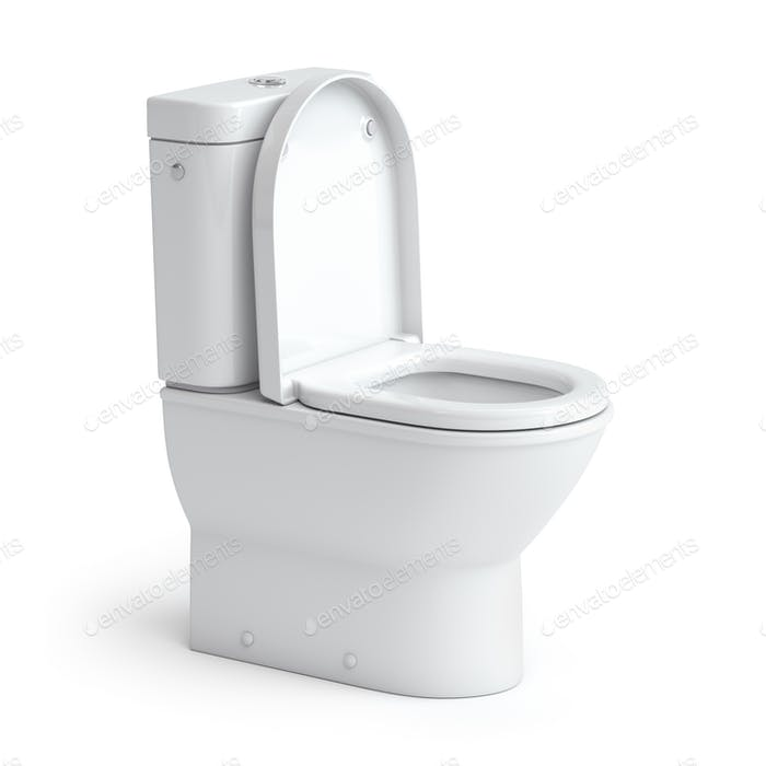 Toilet bowl on white isolated background.