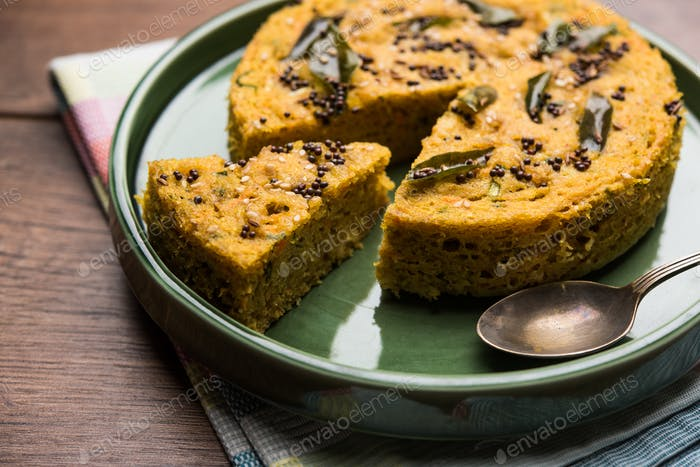 Handvo is a vegetable cake originating from the Gujarat, India