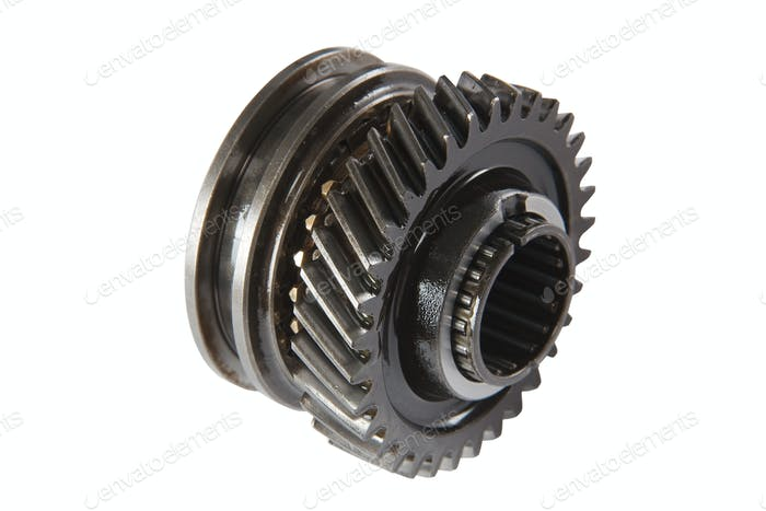Pinion gear synchronizer gearbox car, isolated, on a white backg