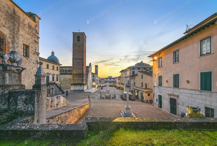 Pietrasanta old town view at sunset, Versilia Lucca Tuscany Italy