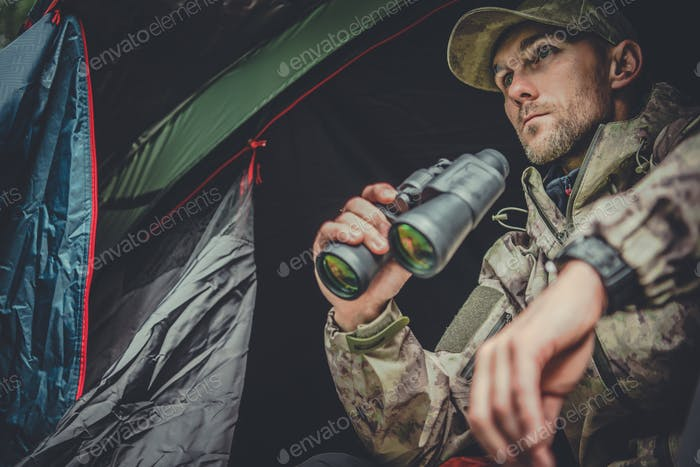 Hunter Spotting Wildlife