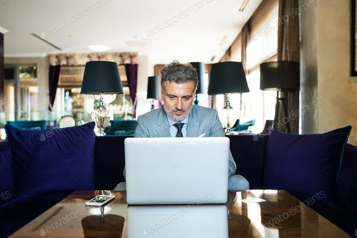 Mature businessman with laptop in a hotel lounge.
