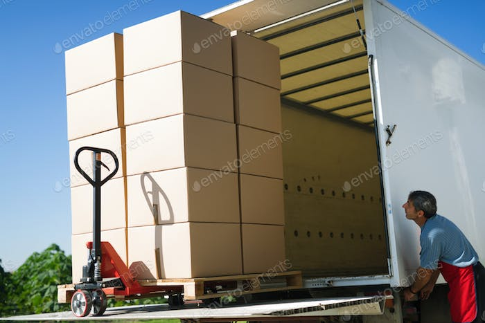 Cargo and goods transportation by truck