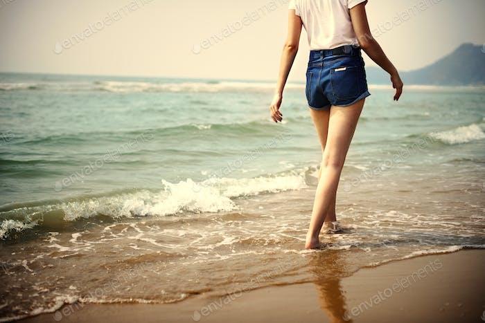 Woman Travel Tropical Beach Concept