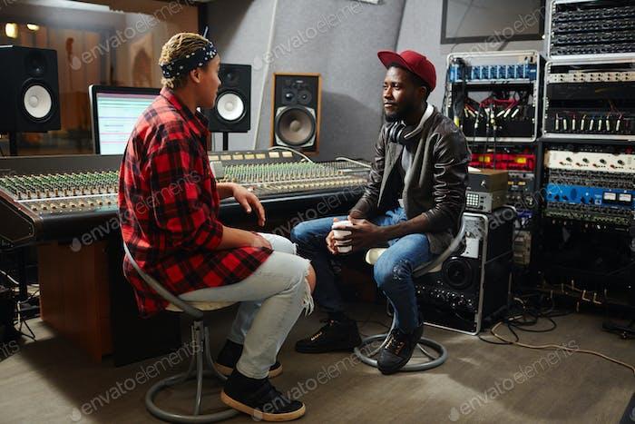 Talk in sound record studio