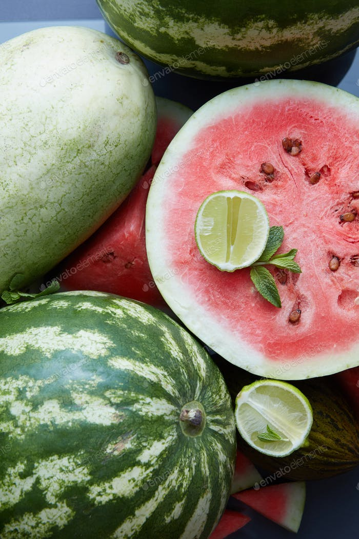 pieces of fresh watermelon as background