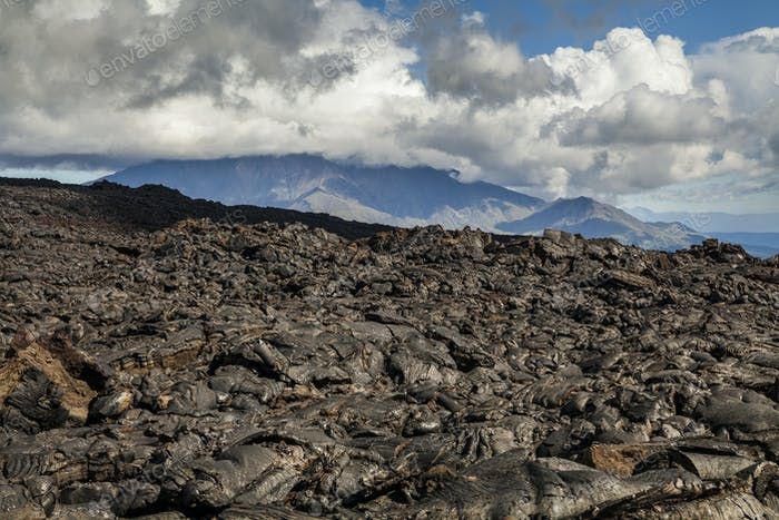 Dramatic views of the volcanic landscape. Kamchatka Peninsula