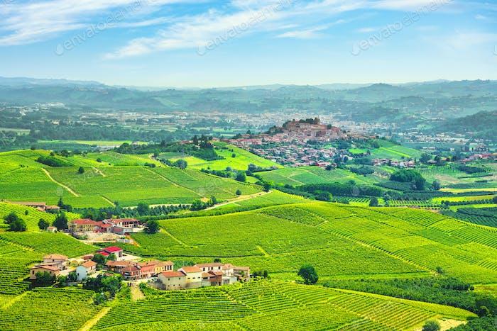 Langhe vineyards panorama, Roddi village, Piedmont, Italy Europe.