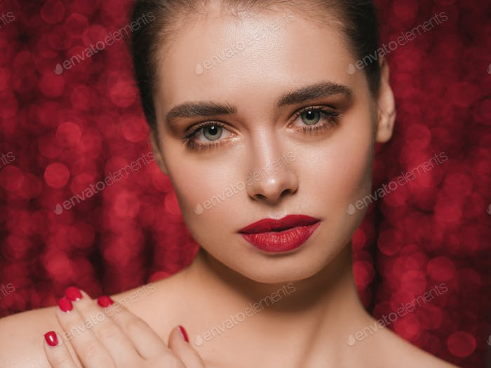 Woman face party beauty red lipstick clean fresh skin beautiful female glamour