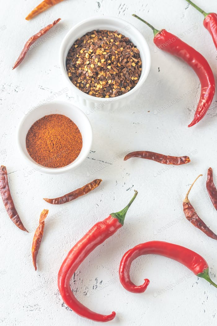 Assortment of chili pepper foods