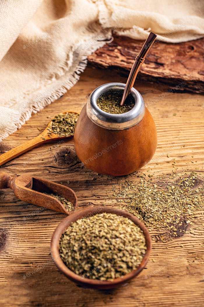 Yerba mate cup and straw