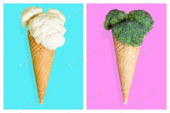 Ice cream cones with vegetables. Minimal art concept