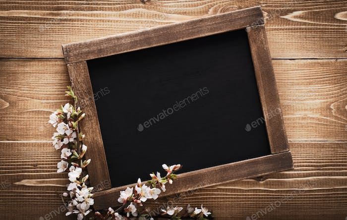 Old vintage school slate with flowers