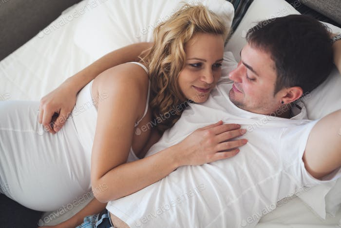 Happy couple expecting newbord