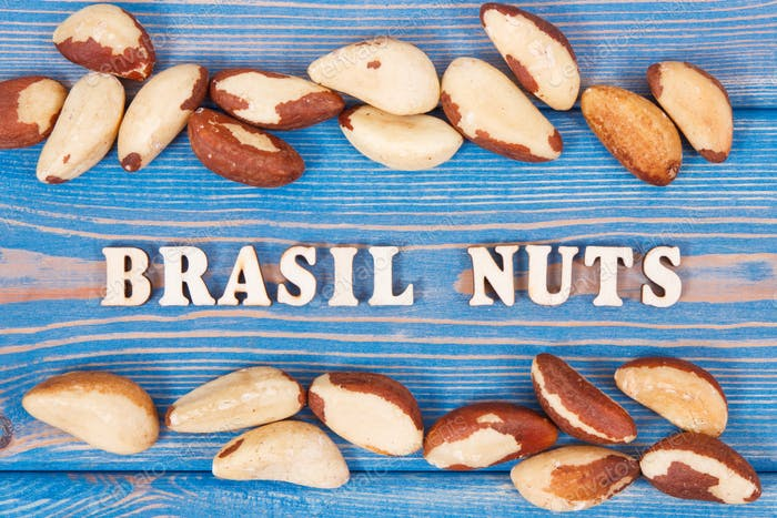 Inscription brasil nuts and fruits as source of natural minerals and vitamin