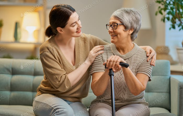 Happy patient and caregiver