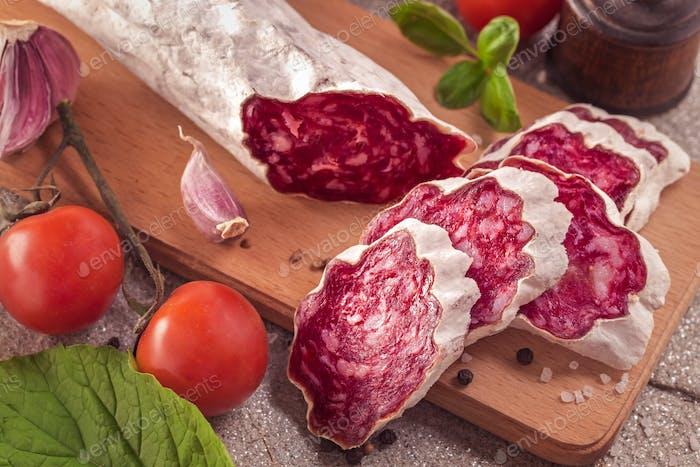Sliced salchichon sausage
